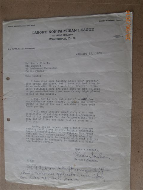 L'image provient du fonds (A.N. F/7/15124, Lettre à Gardner Jackson du Labor's non partisan League, USA, 10.06.39.), toute utilisation ou reproduction est soumis à l'autorisation des Archives Nationales.